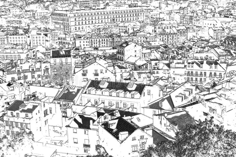 Widoki Lisbon grafika rytownictwo czarny white ilustracja wektor