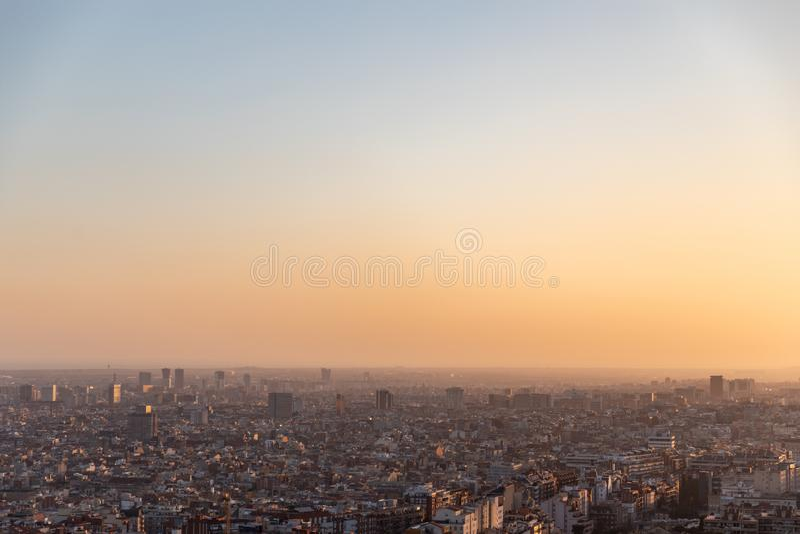 Widoki miasto Barcelona podczas zmierzchu zdjęcia stock