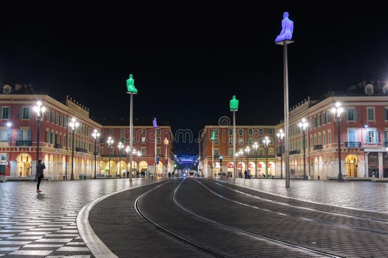 Widoki miejsce Massena przy nocą Kwadrat lokalizuje w ci obraz royalty free
