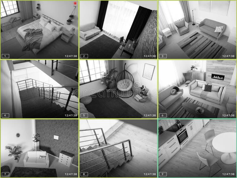 Widoki pokoje chociaż CCTV kamera zdjęcie stock