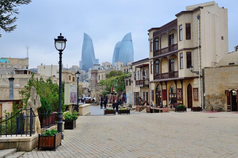 Widoki Stary miasteczko w Baku zdjęcia stock