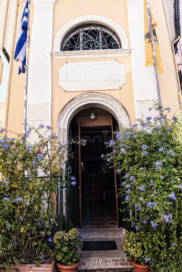 Widoki w starym miasteczku Corfu Grecja obrazy royalty free