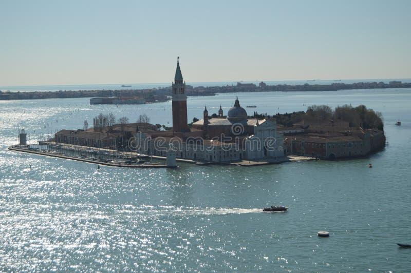 Widoki Z Lotu Ptaka Od Campanille wierza monaster San Giorgio Maggiore Na wyspie San Giorgio Maggiore W Wenecja fotografia royalty free