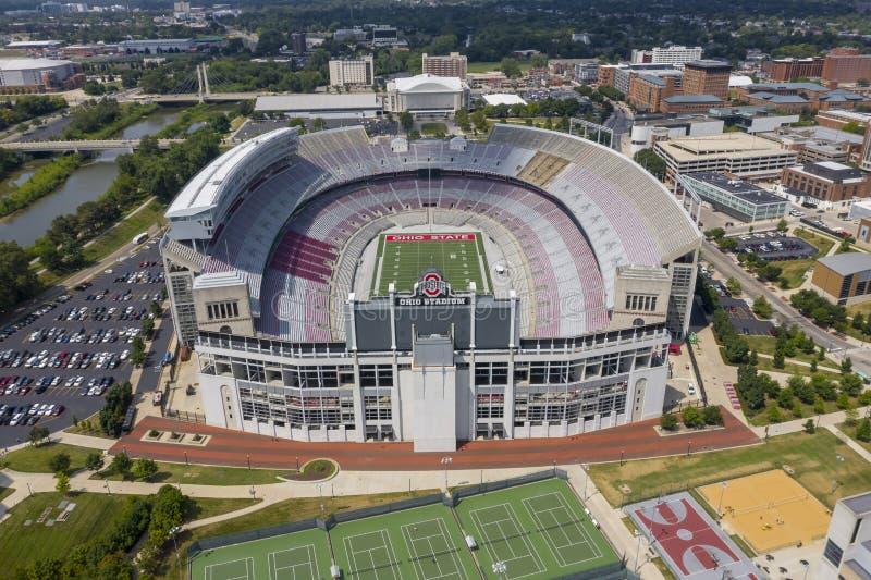 Widoki Z Lotu Ptaka Ohio stadium Na kampusie Ohio stanu uniwersytet zdjęcie royalty free