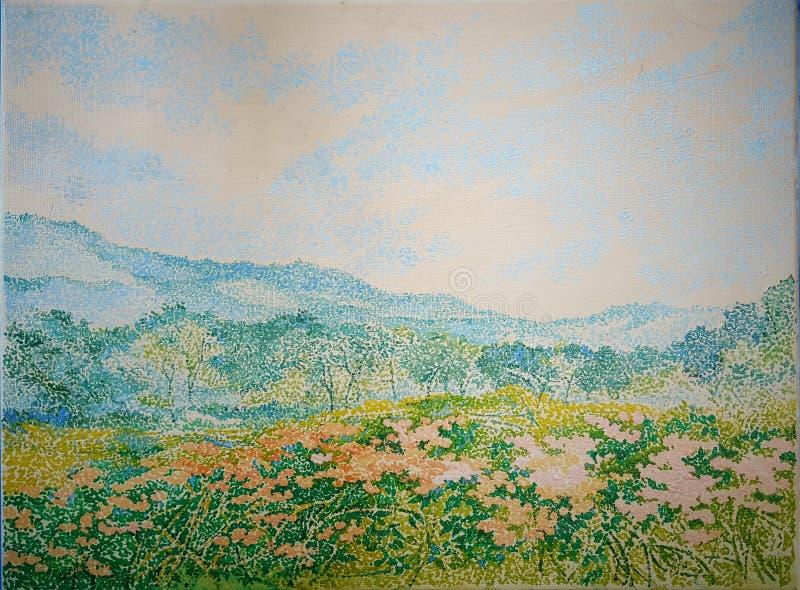 Widoku górskiego kwiatu ogródu pola obrazu olejnego tekstury zakończenie up obrazy stock