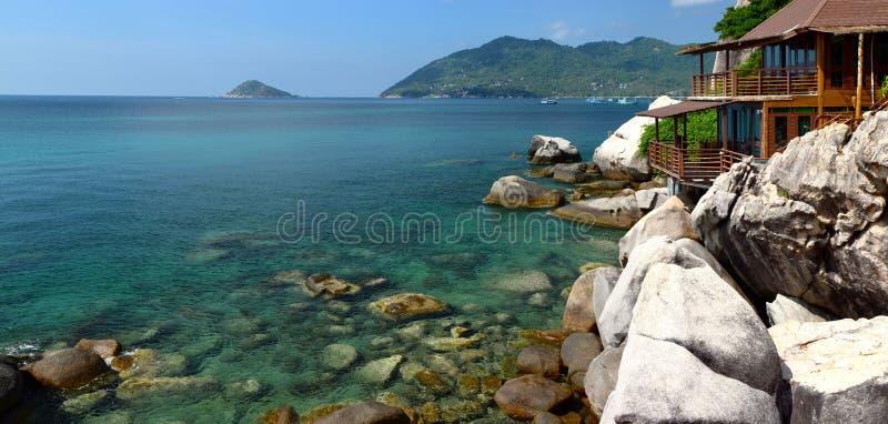 Widoku na ocean bungalow koh Tao Surat Thani prowincja Tajlandia zdjęcia stock