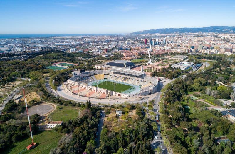 Widoku punkt Barcelona w Hiszpania stadion olimpijski zdjęcia royalty free