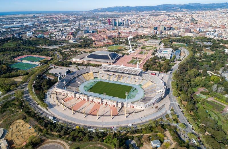 Widoku punkt Barcelona w Hiszpania stadion olimpijski fotografia royalty free