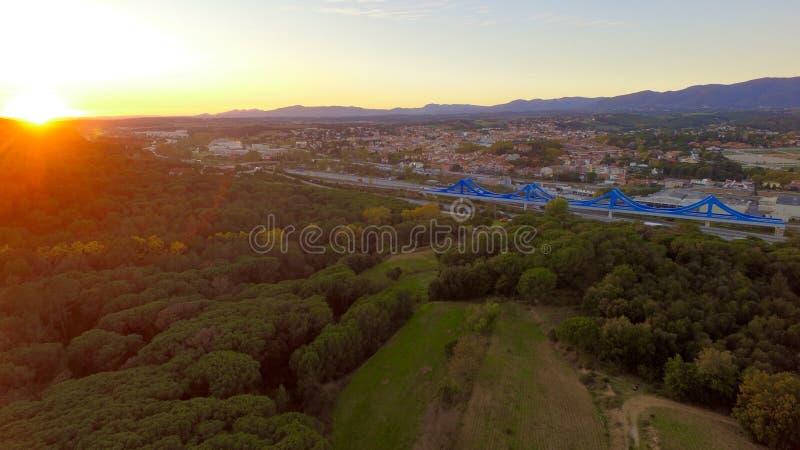 Widoku słońce w górze, Catalonia fotografia royalty free