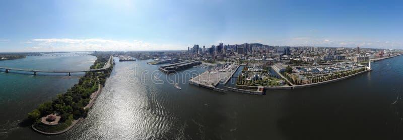 Widoku z lotu ptaka 360 panoramy Montreal stary port z miastowymi architekturami obraz stock