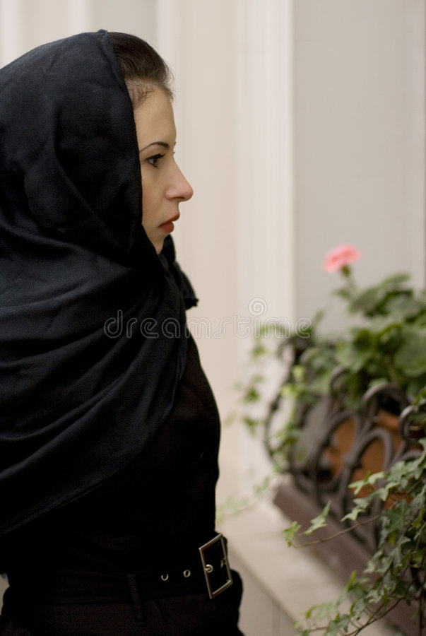 Download Widow at a coffin stock image. Image of afraid, single - 6415701