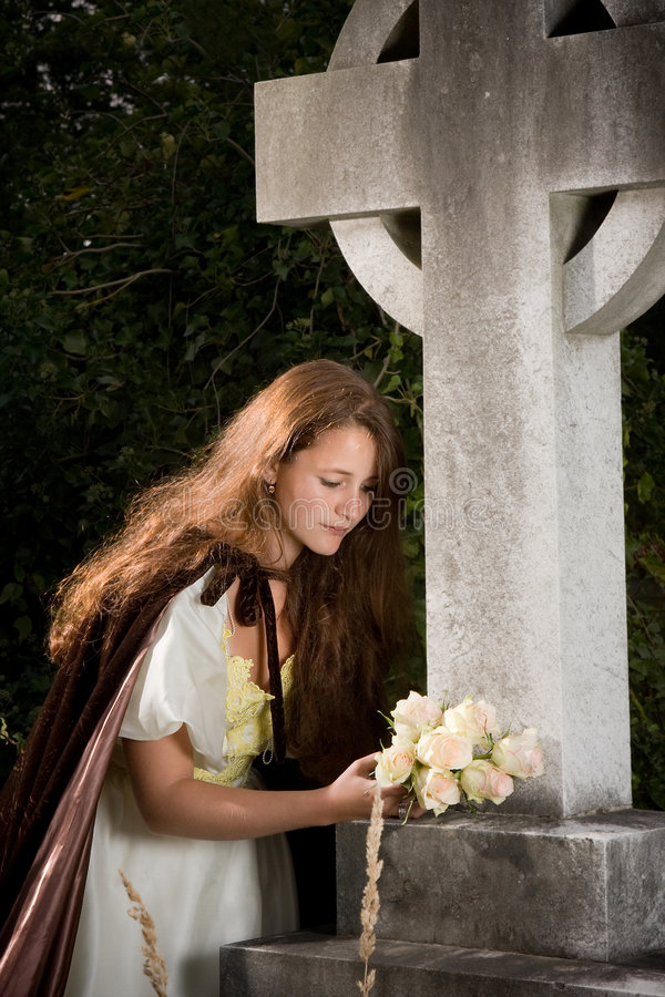 Download Widow with flowers stock photo. Image of beautiful, depressed - 6528336