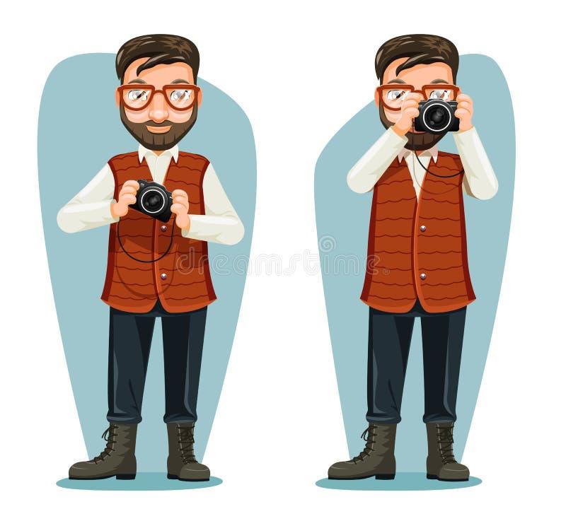 Widowisko podróży fotografa podróży wiadomości kamery blogger postać z kreskówki projekta wektoru ilustracja ilustracja wektor