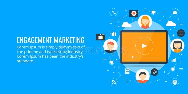 Widowni zobowiązanie - sieci marketingowy pojęcie Płaskiego projekta marketingowy sztandar royalty ilustracja