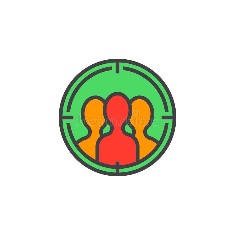 Widownia celuje kreskową ikonę, wypełniający konturu wektoru znak, liniowy ilustracja wektor