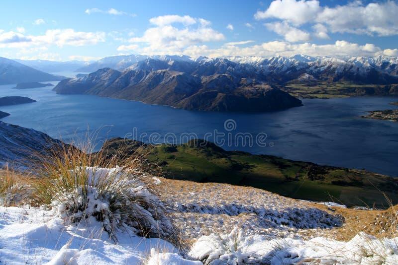 Widzieć od Góry jeziorny Wanaka Roy zdjęcia stock