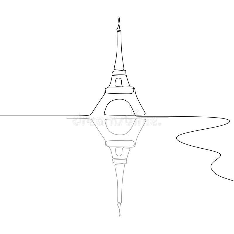 Wieża Eifla Czarny i biały przerzedże jeden kreskowego rysunku wektoru ilustrację royalty ilustracja
