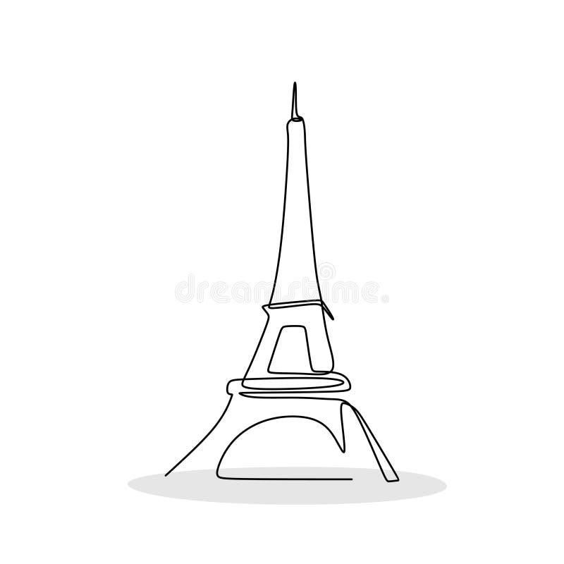 Wieża Eifla w Paryż jeden kreskowego rysunku wektoru ilustracja royalty ilustracja