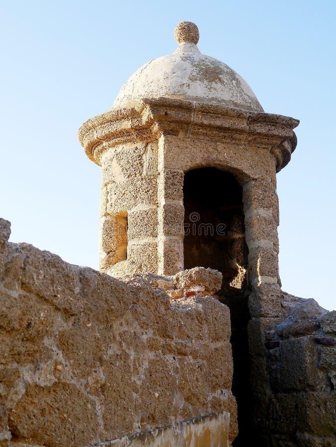 Wieża obserwacyjna plaża obok Santa Catalina kasztelu w zatoce Cadiz, Andalusia Hiszpania zdjęcia stock
