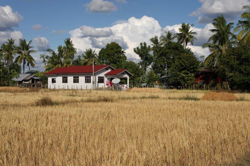 Wieś krajobraz Si Phan Don fotografia royalty free