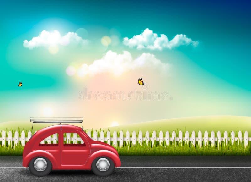 Wieś krajobraz z drogą i czerwonym samochodem ilustracji