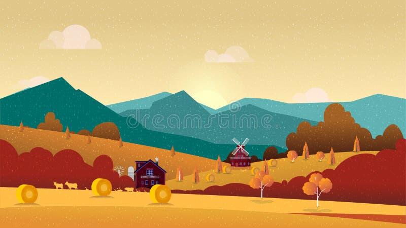 Wieś krajobraz z sianem, polem i wioską, ilustracja wektor