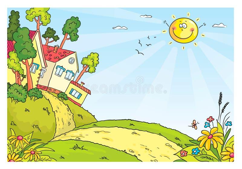 Wieś krajobraz z wzgórzami i domami ilustracji