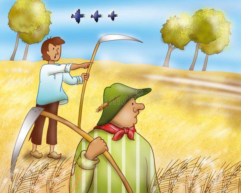 wieś rolnicy ilustracji
