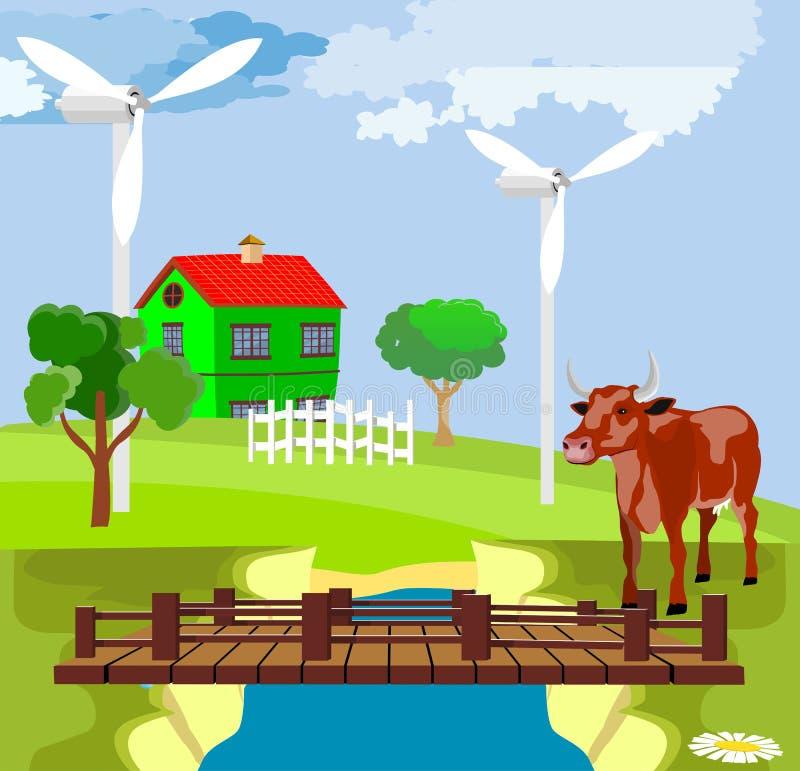 Wieś widok, zieleni wzgórza, gospodarstwo rolne domy, most nad rzeką, ilustracja wektor