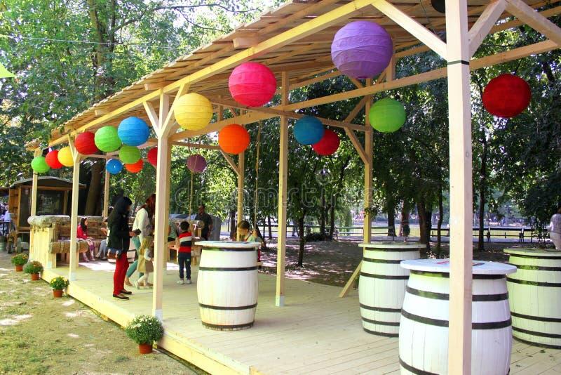 Wieśniaka taras z kolorowymi lampami zdjęcie stock