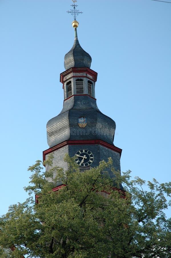 Wieża cebulowa w kościele wiejskim w Niemczech zdjęcie royalty free