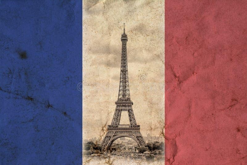 wieża eiffel Paryża Rocznika widoku tło Wycieczki turysycznej Eiffel stara retro stylowa fotografia z pęknięcie miącym papierem ilustracja wektor