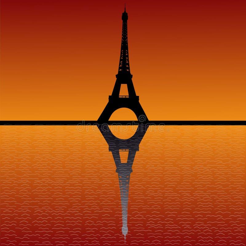 wieża eiffel sunset royalty ilustracja