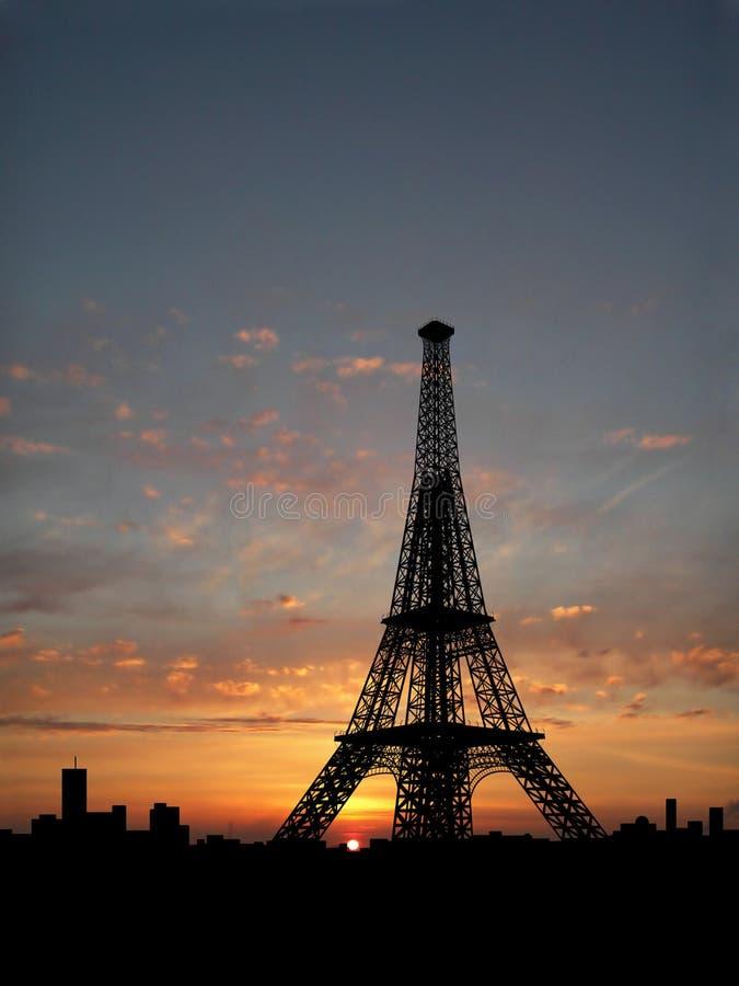 wieża eiffel sylwetki obraz stock