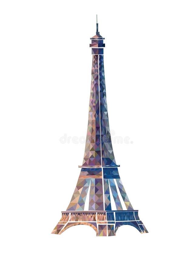 Wieża Eifla abstrakta ilustracja Odosobniona ilustracja na wh obraz royalty free