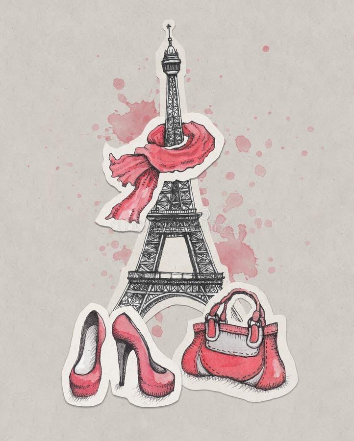 Wieża Eifla, buty i torebka, ilustracji