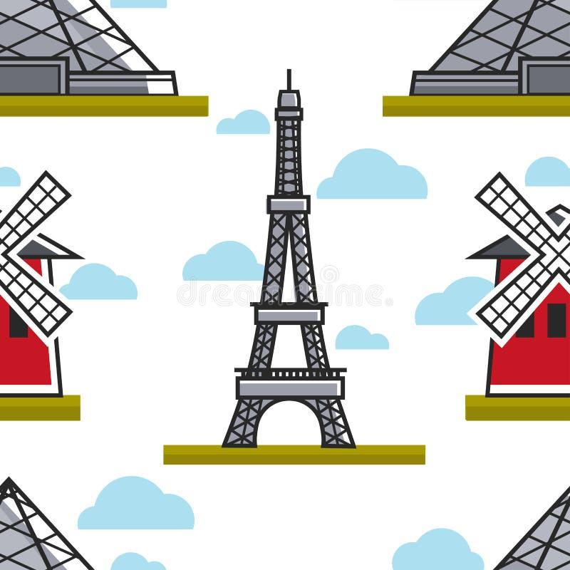 Wieża Eifla i Moulin Różujemy bezszwową deseniową Francuską architekturę royalty ilustracja