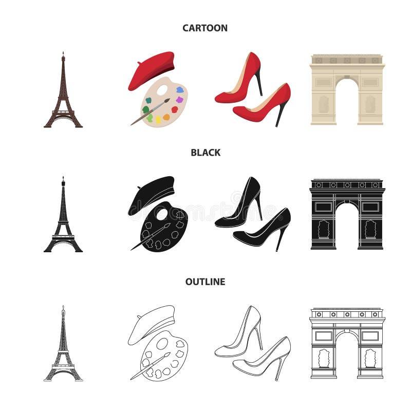 Wieża Eifla, muśnięcie, kapelusz Francja kraju ustalone inkasowe ikony w kreskówce, czerń, konturu symbolu stylowy wektorowy zapa royalty ilustracja