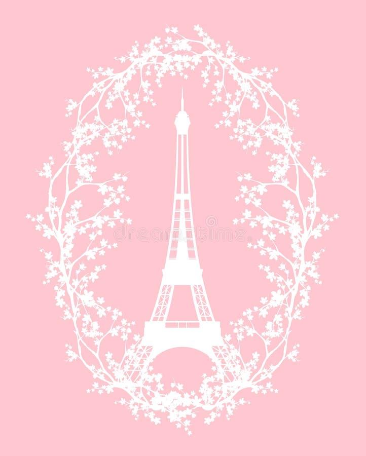 Wieża Eifla projekt - wiosna sezon w Paryskiej wektorowej sylwetce royalty ilustracja