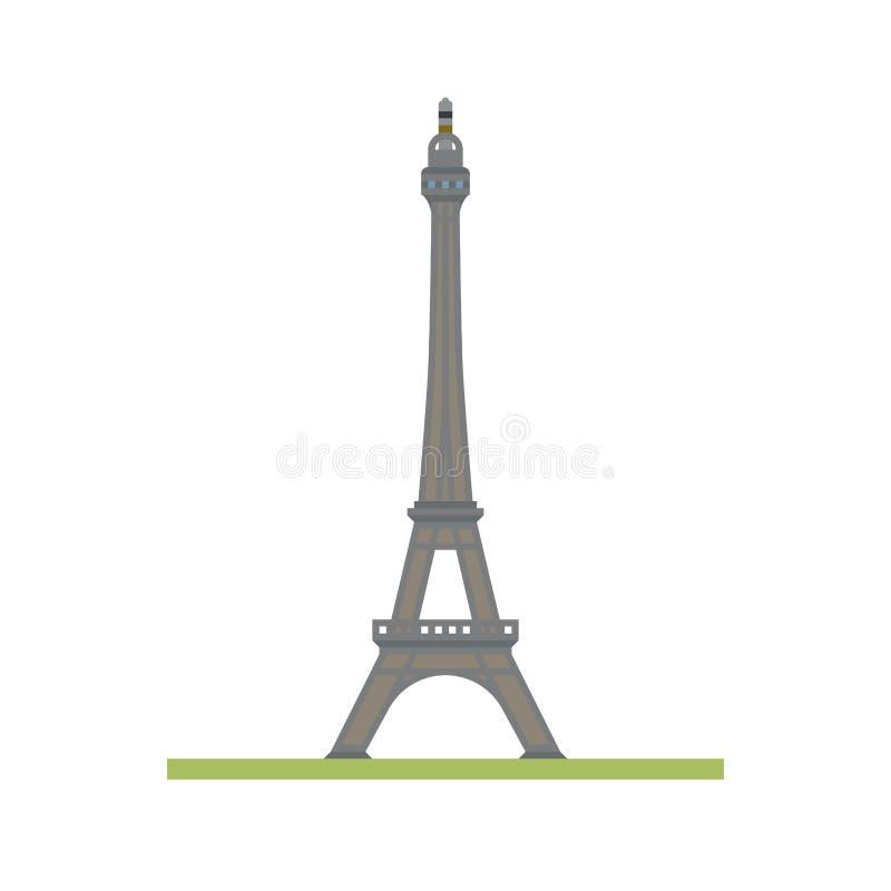 Wieża Eifla przy Paryż, Francja płaski projekt odizolowywał wektorową ikonę royalty ilustracja