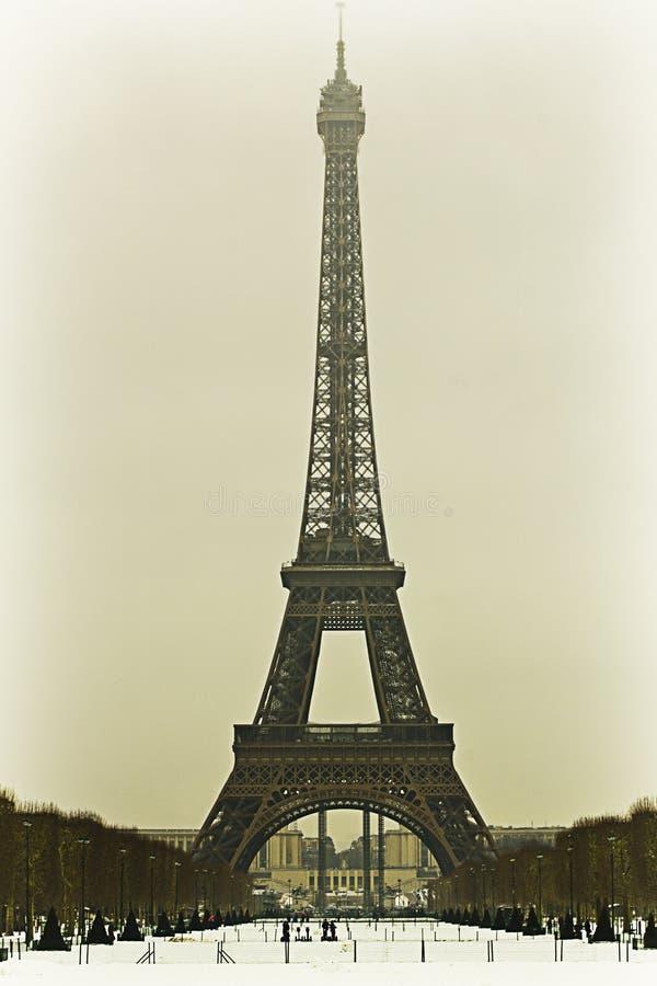 Wieża Eifla w zimie obraz royalty free