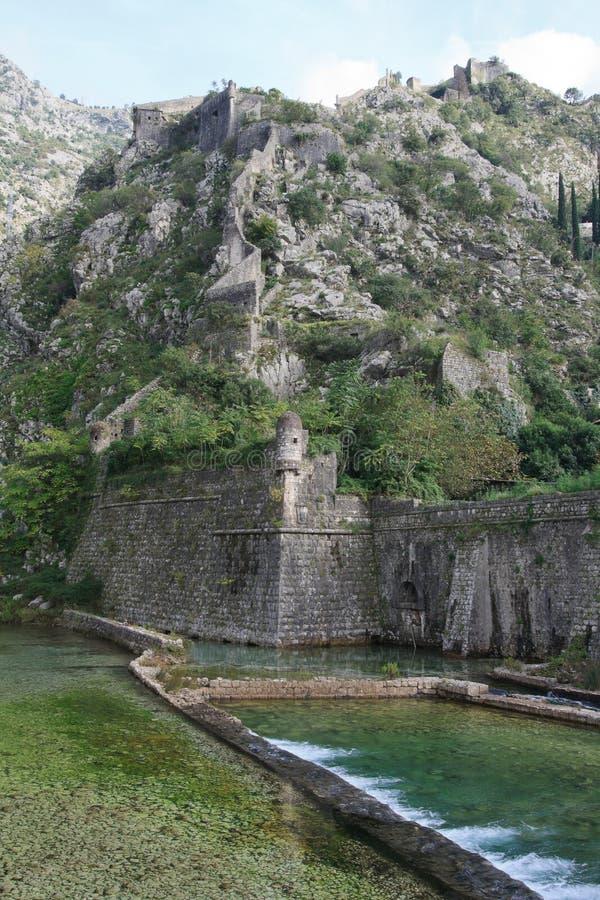 Wieża obserwacyjna i ściany forteca w Kotor Montenegro zdjęcie stock