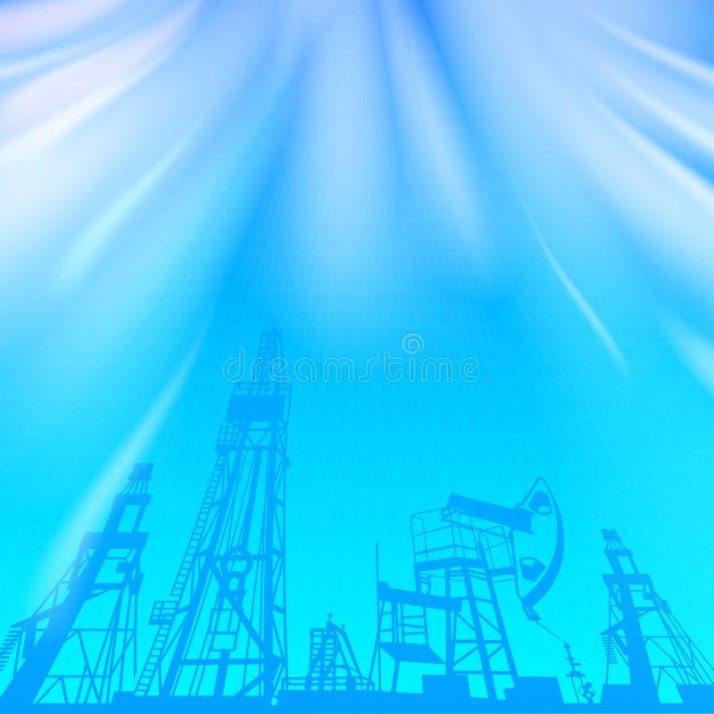 Wieża wiertnicza i pompa nad błękitnym świecącym promieniem royalty ilustracja