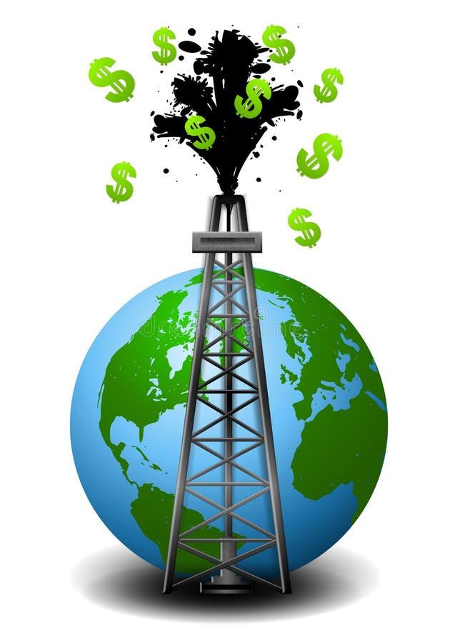 wieża wiertnicza ziemska pieniądze wiertnicza ilustracji