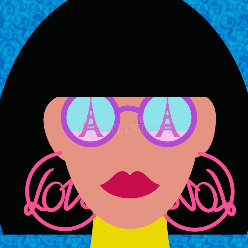 Wieży Eifla Paris dziewczyny podróży wakacyjny pojęcie ilustracji