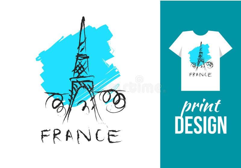 Wieży Eifla ręka rysująca ilustracja z tekstem France Wektor il ilustracji