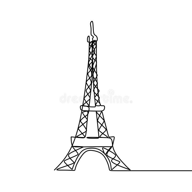 Wieży Eiflej jeden kreskowy rysunek royalty ilustracja