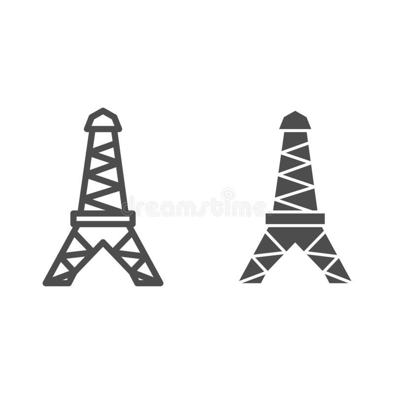 Wieży Eiflej linia i glif ikona Paryska wektorowa ilustracja odizolowywająca na bielu Francuski architektura konturu stylu proj royalty ilustracja