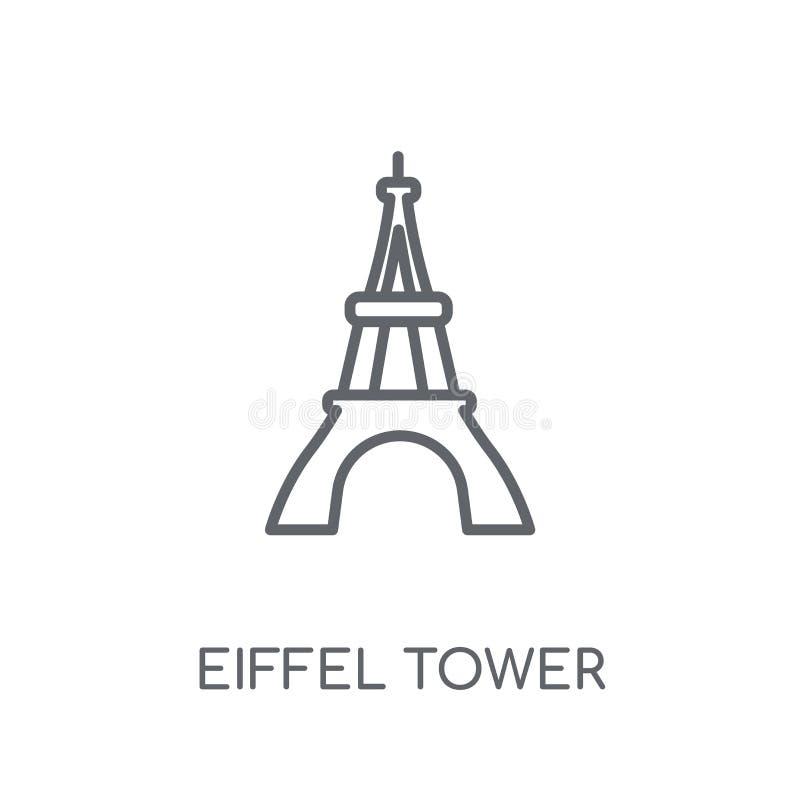 Wieży Eiflej liniowa ikona Nowożytny kontur wieży eiflej logo conce ilustracji
