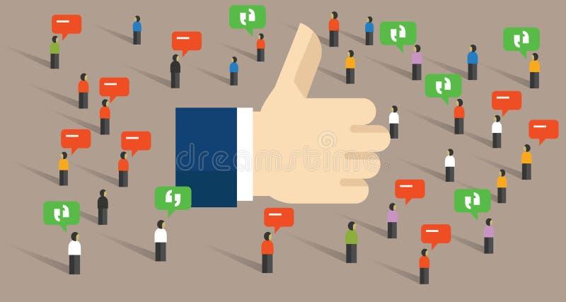 Wie Daumen up Verpflichtungsinternet-Publikumssymbol des Social Media allgemeines des Feedbacks lizenzfreie abbildung